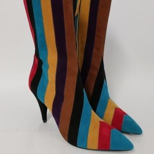 Alice + Olivia Calix Striped Suede Boot